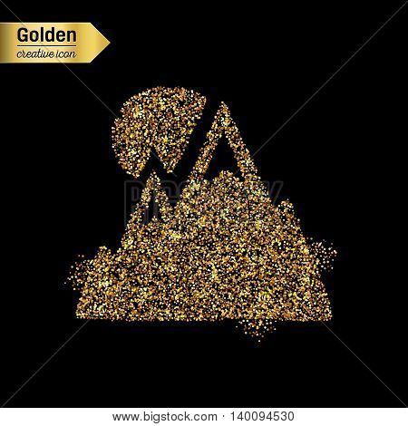 Gold glitter vector icon of alps isolated on background. Art creative concept illustration for web, glow light confetti, bright sequins, sparkle tinsel, abstract bling, shimmer dust, foil.