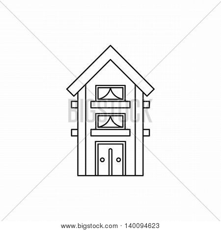 Small two storey house icon in outline style on a white background