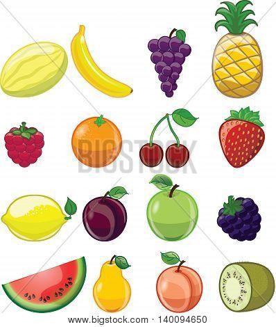 Vector set of 16 cute Cartoon fruits