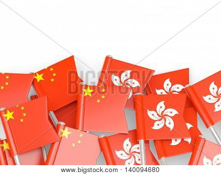Flags Of China And Hong Kong Isolated On White