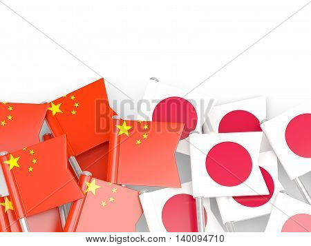 Flags Of China And Japan Isolated On White