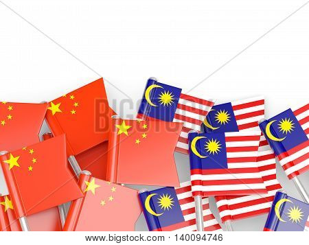 Flags Of China And Malaysia Isolated On White