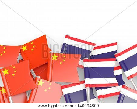 Flags Of China And Thailand  Isolated On White