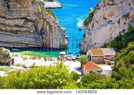 Stinva bay canyon beach view Island of Vis Croatia