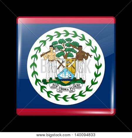Flag Of Belize. Glossy Icon Square Shape