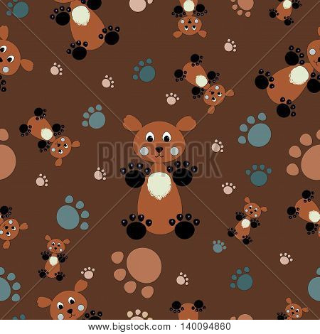 Seamless kids pattern bear and paws illustration background vector. Can be used for wallpapers curtain plates surface textures wrapping