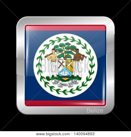 Flag Of Belize. Metal Icon Square Shape