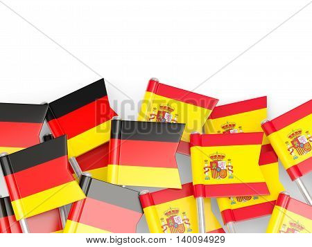 Flags Of Germany And Spain  Isolated On White