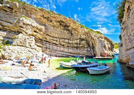 Idyllic beach of Stinva on Vis island Dalmatia Croatia