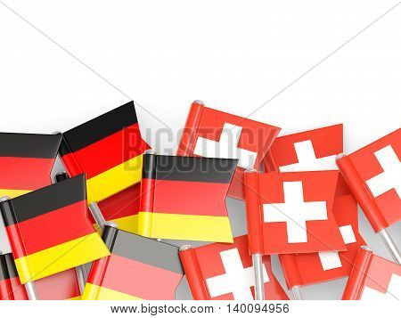 Flags Of Germany And Switzerland  Isolated On White