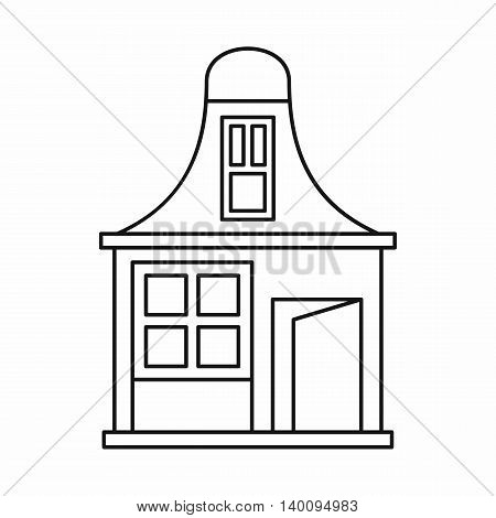 House with a mansard icon in outline style on a white background