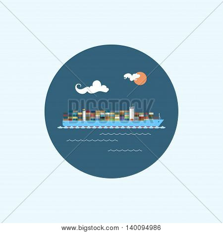 Round icon with colored cargo container ship, clouds and sun ,logistics icons