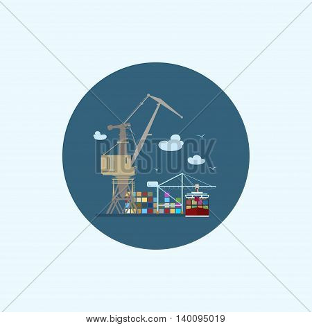 Round icon with colored cargo container ship, with clouds and seagulls, logistics icon,unloading containers from a cargo ship on the docks with cargo crane