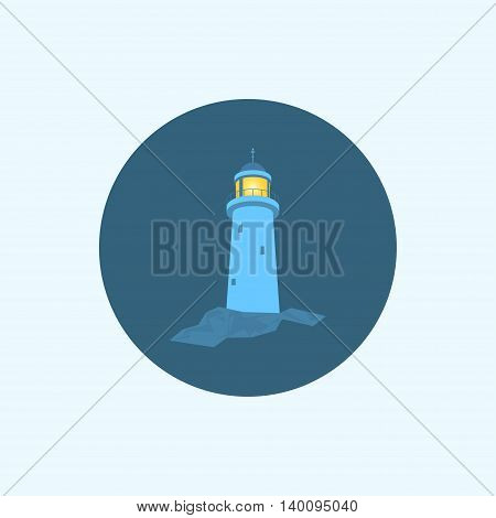 Lighthouse, Round icon with lighthouse, flat icons