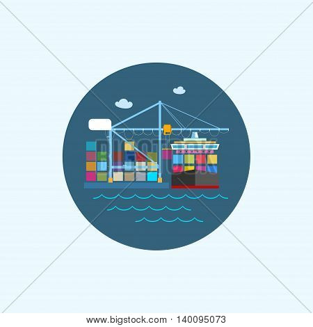 Round icon with colored cargo container ship, with clouds and seagulls ,logistics icon,unloading containers from a cargo ship on the docks with cargo crane