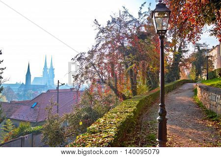 Zagreb upper town walkway and skyline view capital of Croatia
