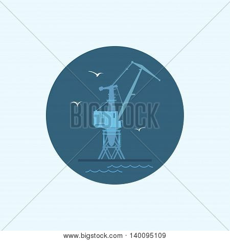 Round icon with colored cargo crane and seagulls in dock