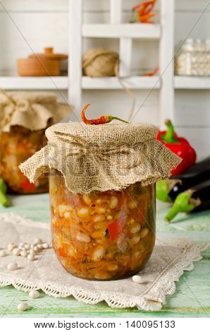 Salad in a jar. Beans with eggplant. Home canning