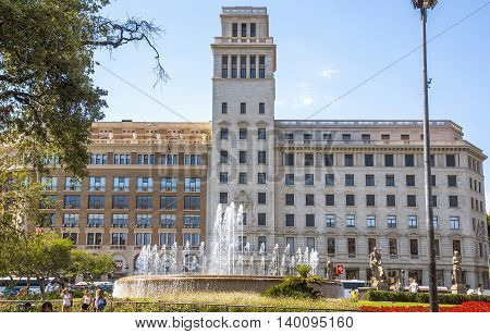 BARCELONA SPAIN - JULY 5 2016: View of Square of Catalonia (Placa de Catalunya) in Barcelona Spain.