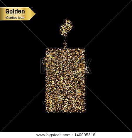 Gold glitter vector icon of candle isolated on background. Art creative concept illustration for web, glow light confetti, bright sequins, sparkle tinsel, abstract bling, shimmer dust, foil.