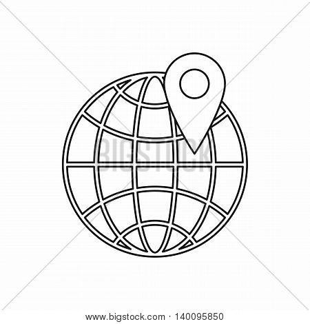 Globe and map pointe icon in outline style on a white background