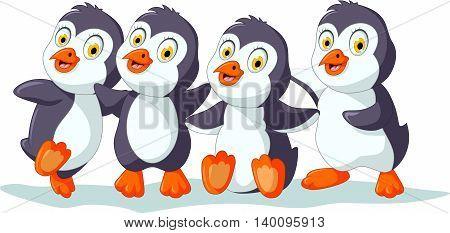 set character of funny penguin cartoon posing