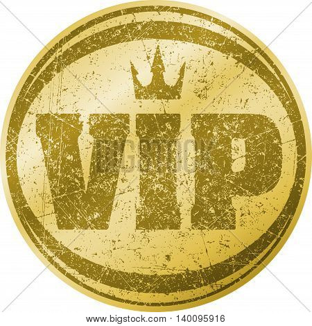 VIP gold icon or logo design with crown in gunge style.