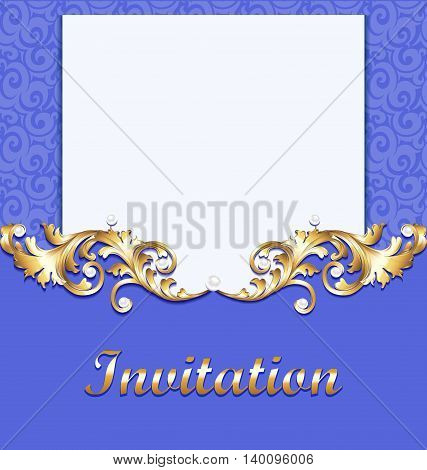 Elegant background with gold ornament with diamond , jewelry frame, vintage postcard for invitation