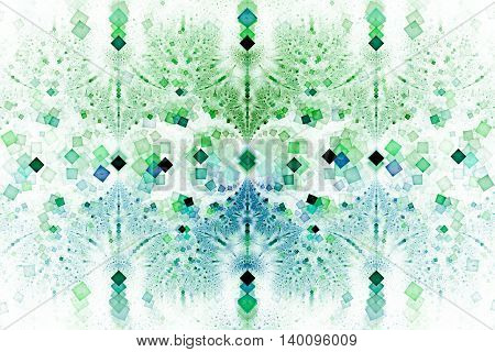 Intricate geometric ornament. Abstract symmetric background. Fantasy fractal texture in blue and green colors. Digital art. 3D rendering.