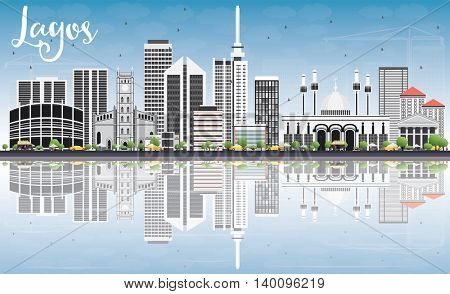 Lagos Skyline with Gray Buildings, Blue Sky and Reflections. Business Travel and Tourism Concept with Modern Buildings. Image for Presentation Banner Placard and Web Site.