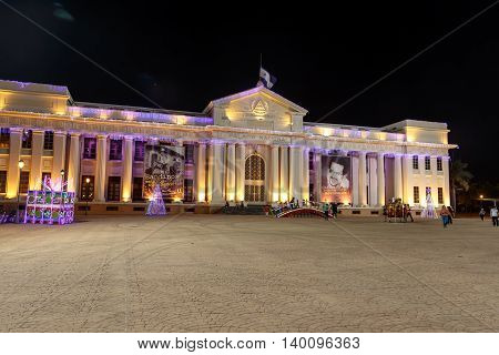 Managua Nicaragua - December 22 2015: National Palace View at night with christmas lights