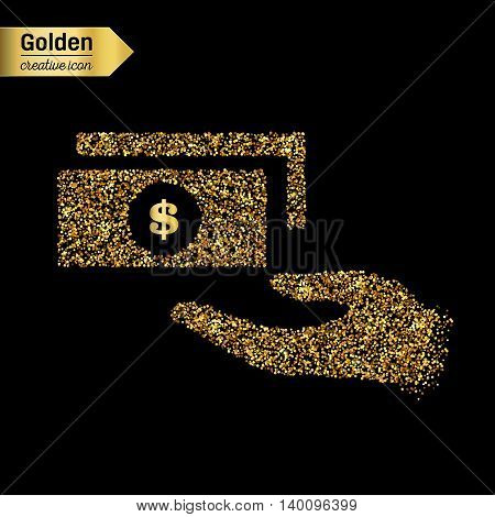 Abstract Creative concept vector icon of hand with money for Web and Mobile Applications isolated on background. Vector illustration template design, Business infographic and social media, icons.