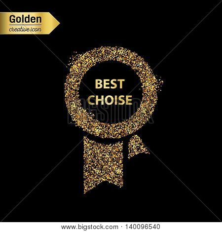 Gold glitter vector icon of ribbons award isolated on background. Art creative concept illustration for web, glow light confetti, bright sequins, sparkle tinsel, abstract bling, shimmer dust, foil.