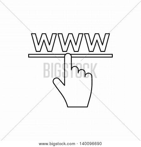 Hand cursor icon in outline style on a white background