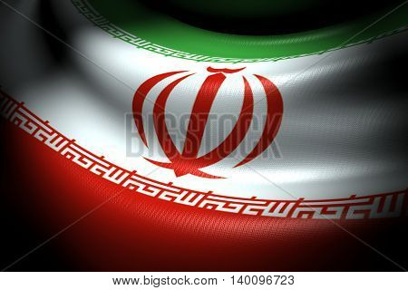 3D illustration of Flag of Iran in the dark with brightness spot