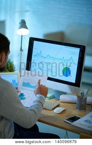 Businessman working with financial charts and graphs