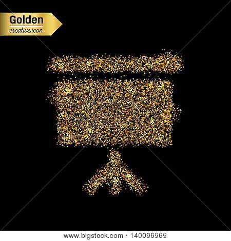 Gold glitter vector icon of a poster isolated on background. Art creative concept illustration for web, glow light confetti, bright sequins, sparkle tinsel, abstract bling, shimmer dust, foil.