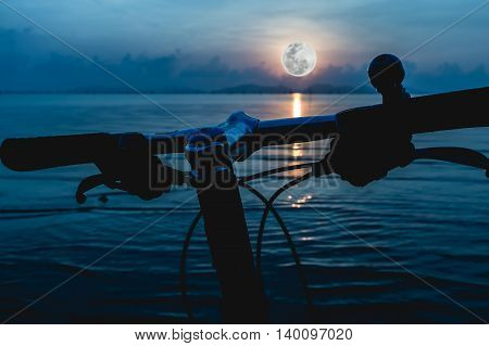 Silhouette Of A Parts Bicycle, Handlebar On The Beach. Outdoors.