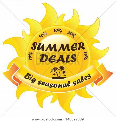 Summer Deals, Big seasonal sales stamp for print