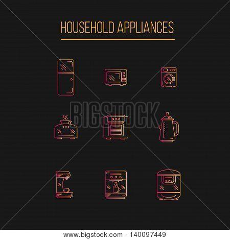 Kitchen Appliances icons set gradient EPS 10