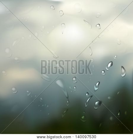Neutral background - rain drops on glass. The illustration contains transparency and effects. EPS10