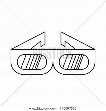 3D cinema glasses icon in outline style on a white background