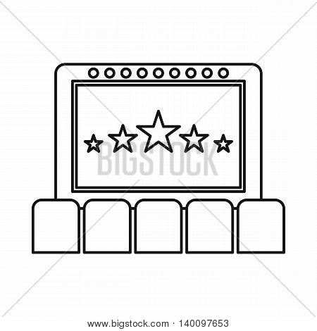 Cinema auditorium with screen and seats icon in outline style on a white background