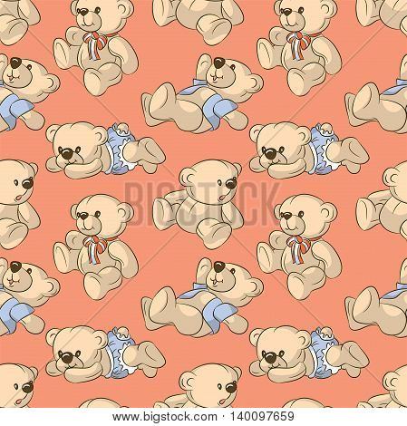 Seamless pattern - cartoon toy bears. Hand-drawn illustration. Vector.