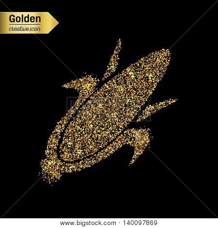 Gold glitter vector icon of corn on the cob isolated on background. Art creative concept illustration for web, glow light confetti, bright sequins, sparkle tinsel, abstract bling, shimmer dust, foil.
