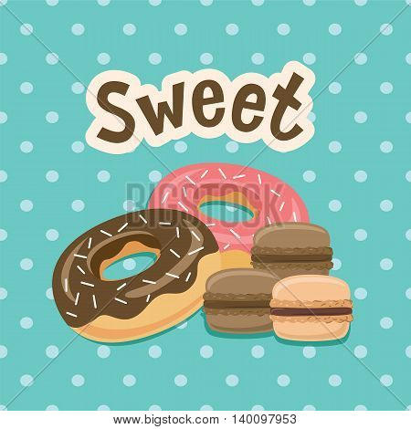 Sweet label with donut. on polka-dot background. Vector illustration. Eps10