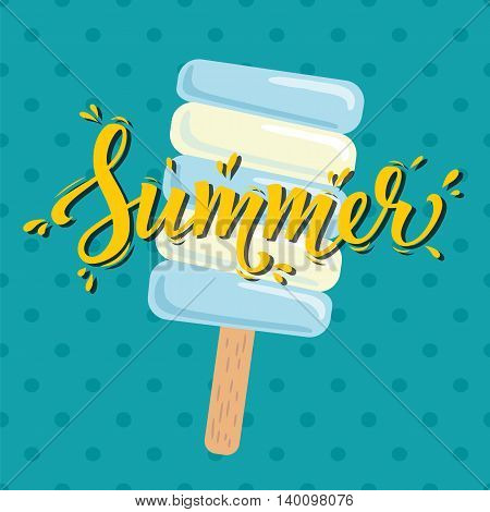 Poster Summer with ice cream. Vector illustration. Eps10