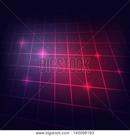 80s Retro Sci-Fi Background Neon Grid. Vector EPS10