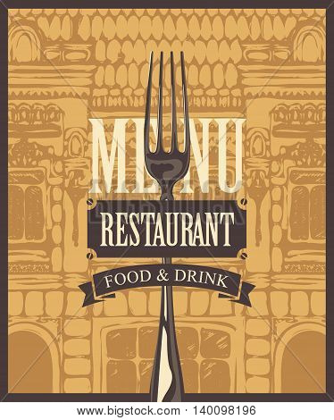 menu for a cafe or restaurant with a fork on the background of the exterior of the old building