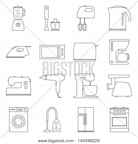 Set of home electronics appliances, vector illustration
